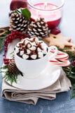 Varm choklad för jul med festliga garneringar arkivbild
