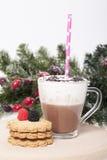 Varm choklad i en kopp och kex Arkivbild