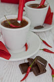 Varm choklad med chilien Arkivbilder