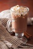 Varm choklad med den kanelbruna vinterdrinken för mini- marshmallower Royaltyfri Fotografi
