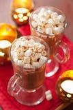 Varm choklad med den kanelbruna vinterdrinken för mini- marshmallower Fotografering för Bildbyråer
