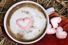 Varm choklad med hjärtarosa färgmarshmallowen royaltyfria bilder