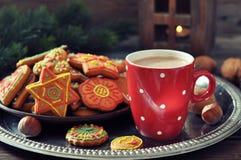 Varm choklad med ljust rödbrun kakor royaltyfria foton