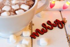 Varm choklad med marshmallower på vitt trä Fotografering för Bildbyråer