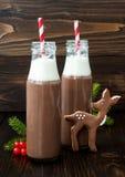 Varm choklad med piskad kräm i gammalmodiga retro flaskor med röda randiga sugrör Julferiedrink och pepparkaka b Arkivbilder