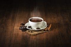 varm choklad med rök Arkivfoto