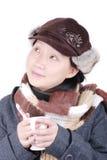 varm dricka flicka för kaffe Arkivbild