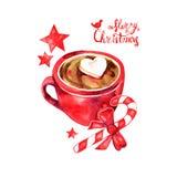 Varm drink för vinter, kakao med marshmallower varma marshmallows för chokladkopp Traditionell dryck för vintertid royaltyfri illustrationer