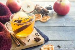 Varm drink med äpplet fotografering för bildbyråer