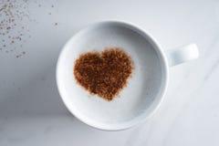 Varm drink med hjärtaformkakao royaltyfria bilder
