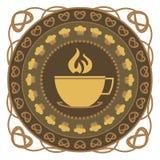 Varm drink- och kakarundaprydnad Royaltyfria Foton