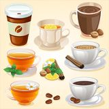 Varm drinkuppsättning stock illustrationer