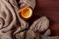 Varm dryck med citronen och kanel Arkivfoto