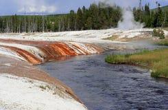 varm fjäder yellowstone Arkivfoto