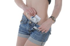 Varm flickaröv med kontanta dollar Arkivfoto
