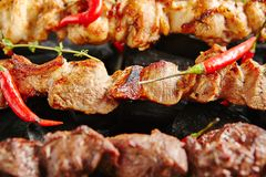 Varm grillad grisköttkebab eller grillfest Shashlik på kol Backgrou royaltyfria foton