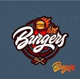 Varm hamburgarevektorlogo royaltyfri illustrationer