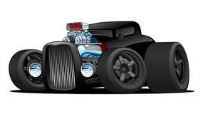 Varm illustration för Rod Vintage Coupe Custom Car tecknad filmvektor royaltyfri illustrationer