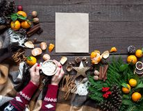 Varm juldrinkar, kaffe, kakao eller choklad med marshmallower Julsammansättning på träbakgrund, filialer, Christma royaltyfri foto