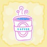 Varm kaffekopp i papperssnitt Arkivbilder