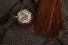 Varm kakao med marshmallower och ett antal handskar Arkivfoton