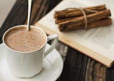 Varm kakao och en gammal bok royaltyfri foto