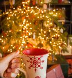 Varm kakao vid julgranen royaltyfri fotografi