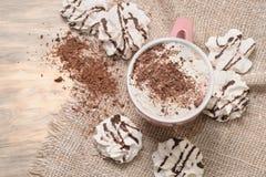 Varm kakaodrink med choklad Arkivbild