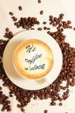 Varm koffein för arom för espressooen för kaffedrinkkoppen, det för kaffenollan för ` s klockan för `, älskar jag Coffe, den bra  arkivfoto
