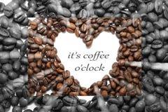Varm koffein för arom för espressooen för kaffedrinkkoppen, det för kaffenollan för ` s klockan för `, älskar jag Coffe, den bra  royaltyfri illustrationer