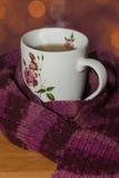 Varm kopp te med halsduken Arkivfoton