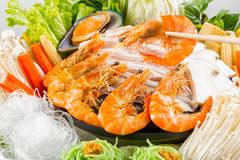 Varm kruka - Sukiyaki eller Shabu uppsättning arkivfoton