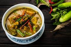 Varm kryddig curry med griskött royaltyfri foto