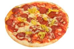 Varm kryddig peperoni- och pepparpizza Royaltyfria Foton