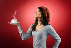 varm kvinna för kaffe Royaltyfri Bild
