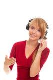varm linje operatör för vänlig hörlurar Royaltyfri Foto
