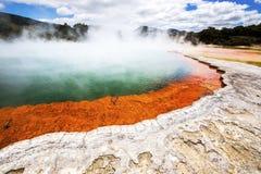 Varm mousserande sjö i Nya Zeeland Fotografering för Bildbyråer