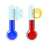 Varm och kall symbol för termometer. Arkivfoto