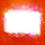 Varm orange bakgrund med det magiska snöbanret Royaltyfria Foton