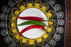 Varm peppar på en platta royaltyfri foto