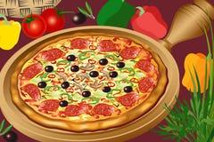 varm pizza stock illustrationer