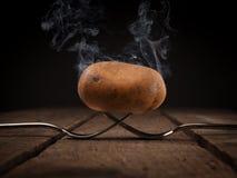 Varm potatis på gafflar arkivfoto