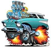 Varm Rod Muscle Car Cartoon Vector för klassiskt femtiotal illustration royaltyfri bild