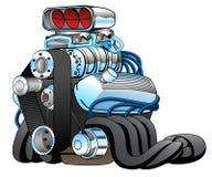 Varm Rod Race Car Engine Cartoon vektorillustration stock illustrationer