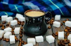 Varm rutig halsduk och en kopp av varmt kaffe Royaltyfria Bilder