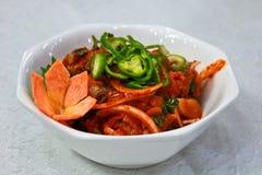 varm sallad för asiatisk fisk Royaltyfri Fotografi