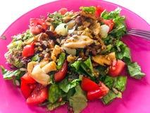Varm sallad med skogchampinjoner, tomater och grönsallat Arkivfoto