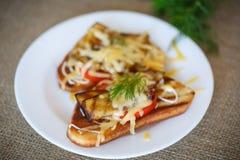 Varm smörgås med aubergine Royaltyfri Foto