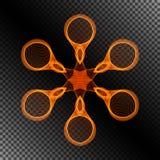 Varm snöflinga för geometrisk symbolsbrand på genomskinlig bakgrund stock illustrationer