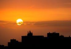 varm solnedgång arkivbild